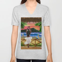 Hawaiian Sunset Hula Dancer Unisex V-Neck