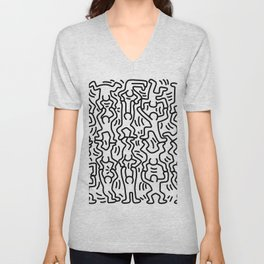 Homage to Keith Haring Acrobats Unisex V-Neck