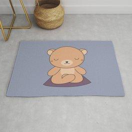 Kawaii Cute Yoga Bear Rug