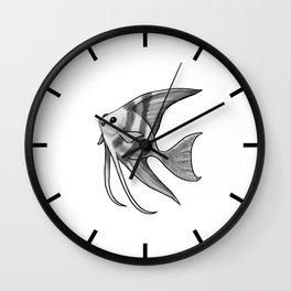 Silver Striped Angelfish Wall Clock