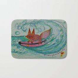 surfing, surfing art, fox art, fox, Bath Mat