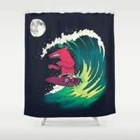 surfer Shower Curtains featuring Moonlight Surfer by DinoMike
