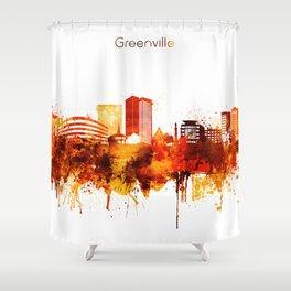 Greenville South Carolina Red Yellow Skyline Shower Curtain