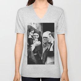 Smoking Nuns, Black and White, Vintage Wall Art Unisex V-Neck