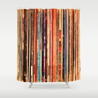 vinyl Shower Curtains featuring Vinyl by bomobob