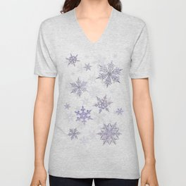 Snowflakes Embroidered on Misty Sky Unisex V-Neck
