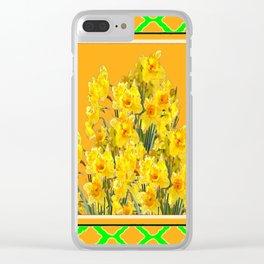 SPRING GREEN YELLOW DAFFODIL GARDEN ART PATTERN Clear iPhone Case