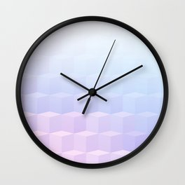 Pastel Cube Pattern Ombre 1 - pink, blue and vi Wall Clock
