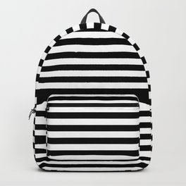 Midnight Black and White Horizontal Deck Chair Stripes Backpack