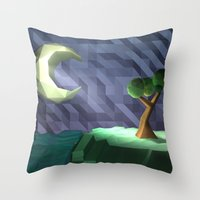 low poly Throw Pillows featuring Low Poly Night by cnrgrn