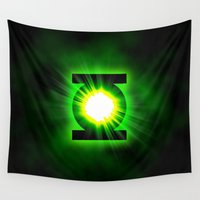 green lantern Wall Tapestries featuring Green Lantern Power Of The Ring by neutrone
