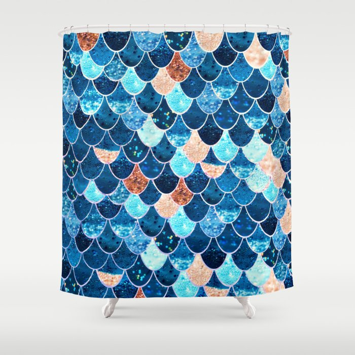 REALLY MERMAID BLUE GOLD Shower Curtain By Monikastrigel