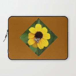 Moth on Black Eyed Susan Flower Laptop Sleeve