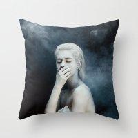 fear Throw Pillows featuring Fear by Jovana Rikalo