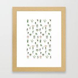 Green plants pattern Framed Art Print
