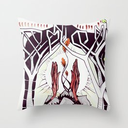 Omni Om. Man, Cat and Trees Throw Pillow
