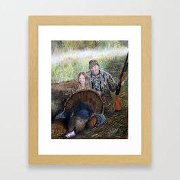 Father daughter hunters Framed Art Print