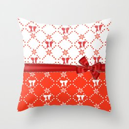 Red Ribbons and Bows Throw Pillow