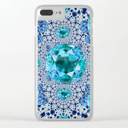 Aquamarine Gems Optical Pattern March Birthstone Art Clear iPhone Case