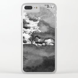 black white gray paint in monotype technique, abstract Clear iPhone Case