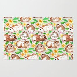 Guinea Pigs and Daisies in Watercolor Rug