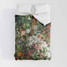 Gustave Courbet Bouquet of Flowers in a Vase Comforters