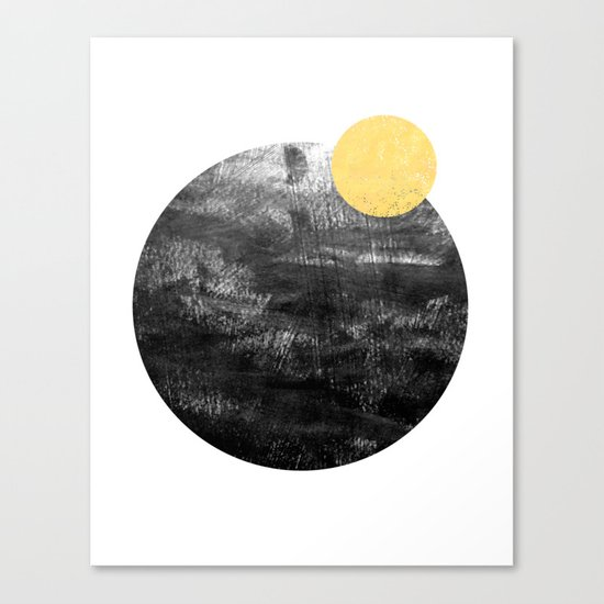 Ripley - abstract marble texture india ink painting minimal white and black with gold canvas art Canvas Print