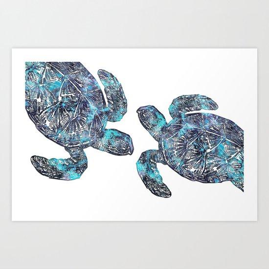 Sea Turtle Blue Watercolor Art Art Print