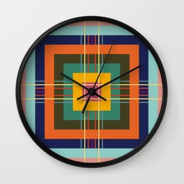 Fine Lines on Retro Colored Squares Wall Clock