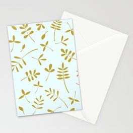Gold Leaves Design on Light Blue Stationery Cards