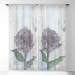 Hydrangea Damask and Quartrefoil Mixed Media Sheer Curtain