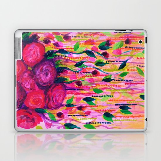 ROSES ARE RAD 2- Bold Pink Red Roses Floral Bouquet Vines, Flower Abstract Acrylic Painting Fine Art Laptop & iPad Skin