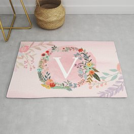 Flower Wreath with Personalized Monogram Initial Letter V on Pink Watercolor Paper Texture Artwork Rug