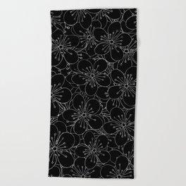 Cherry Blossom Black on White - In Memory of Mackenzie Beach Towel