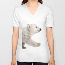 Baby polar bear walking Unisex V-Neck
