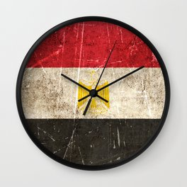 Vintage Aged and Scratched Egyptian Flag Wall Clock