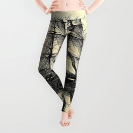 Kraken Octopus Attacking Ship Multi Collage Background Leggings