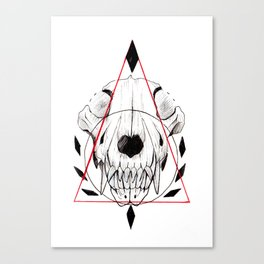 WOLF SKULL INKTOBER Canvas Print