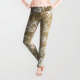 Elegant chic faux gold foil paint splatters pattern Leggings
