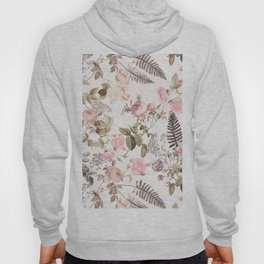 Vintage & Shabby Chic - Blush Roses and Fern Leaf Hoody
