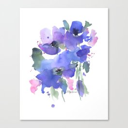 Blue Poppies and Wildflowers Canvas Print