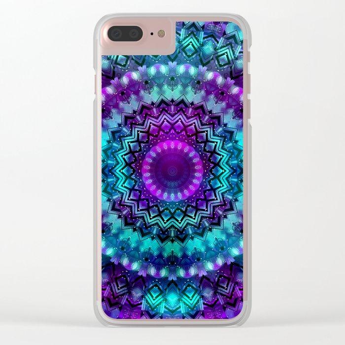 Celestial Midnight Mandala Clear iPhone Case