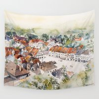 poland Wall Tapestries featuring Old Marketplace in Kazimierz Dolny | Poland by Karolina Ostrowska