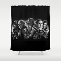freddy krueger Shower Curtains featuring Freddy Krueger Jason Voorhees Michael Myers leatherface Darth Vader Blackest of the Black by Scott Jackson Monsterman Graphic