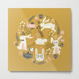 Bunnies + Teapots in Gold Metal Print