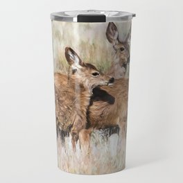 Two Deer, a Fawn and a Flower Travel Mug