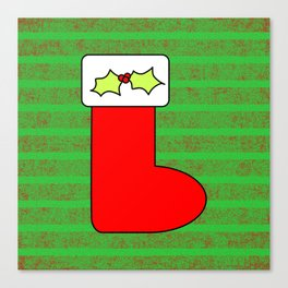 Christmas stocking with holly Canvas Print