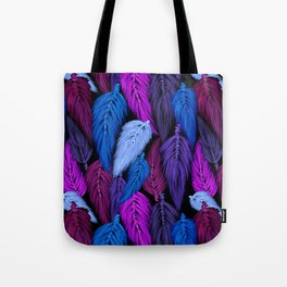 Watercolor Macrame Feather Toss in Black + Indigo Tote Bag