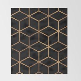 Black and Gold - Geometric Cube Design Throw Blanket