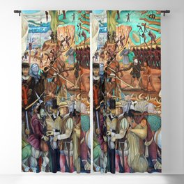Mural of exploitation of Mexico by Spanish conquistadors by Diego Rivera Blackout Curtain